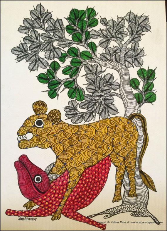 Gond painting of a tiger hunting by Roshni Shyam