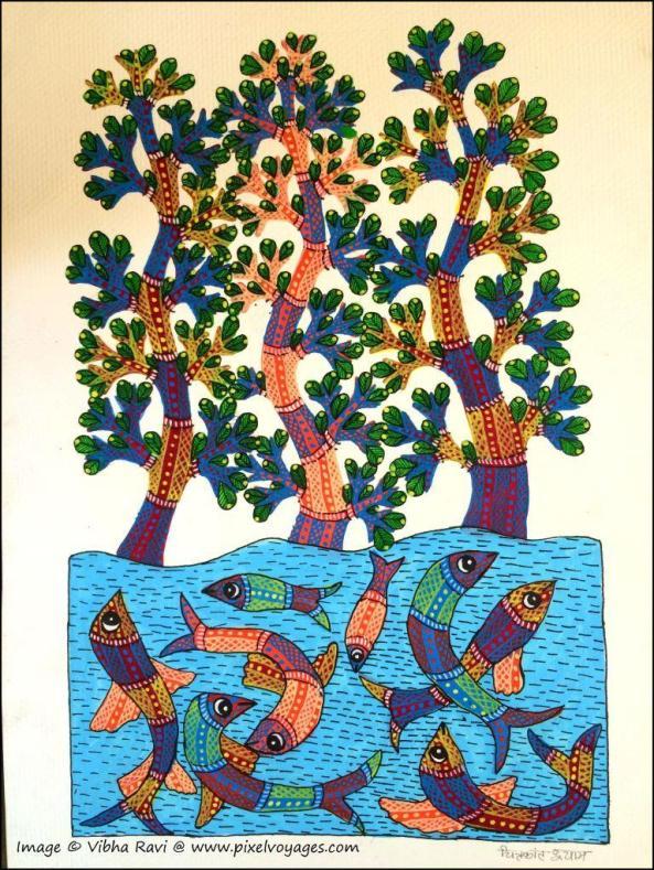 Nature illustration by Gond painter Chitrakant Shyam