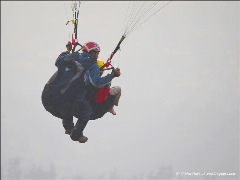 Take off during paragliding in Saputara