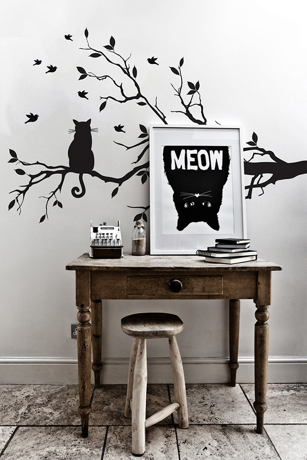 Cat on Bench Wall Decal by PIXERS