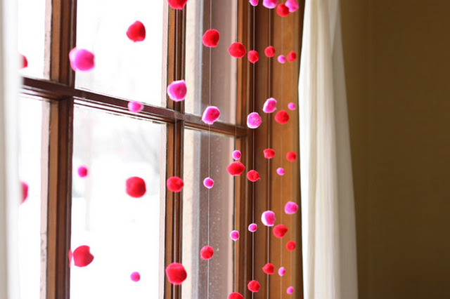 Pompoms garland for Valentine's Day Decor