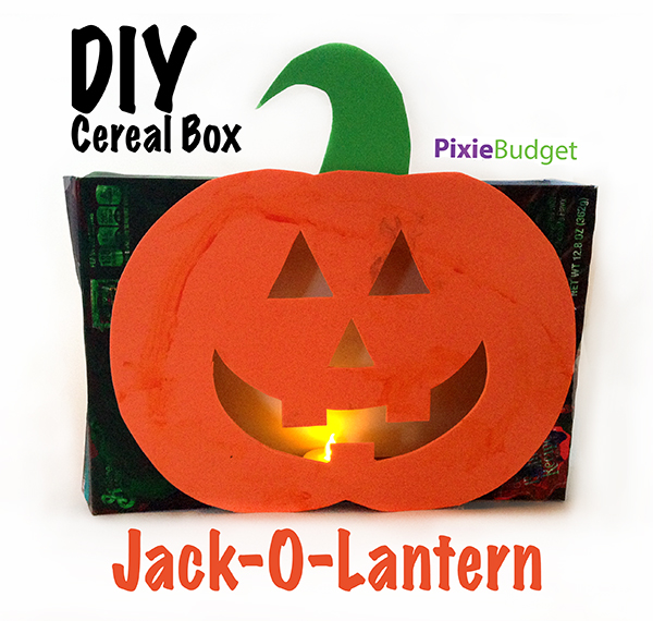DIY Cereal Box Pumpkin Jack O Lantern Craft