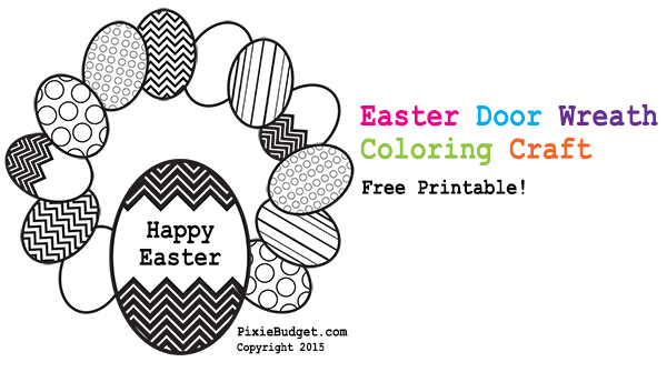 Easter Door Wreath Coloring Craft Page