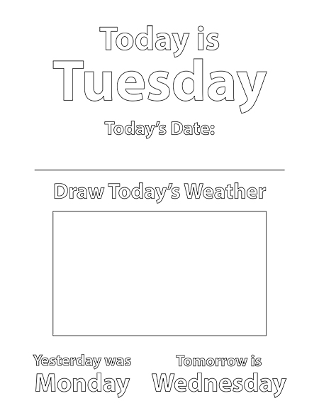 Tuesday Coloring Sheet