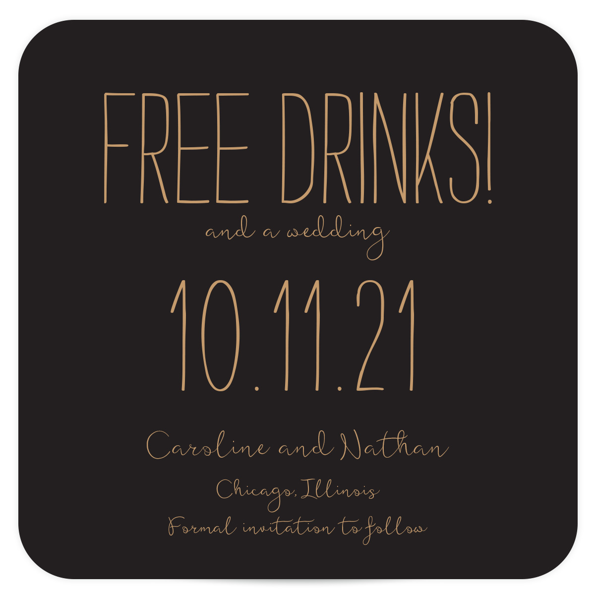 Black and Gold Coaster Save the Date