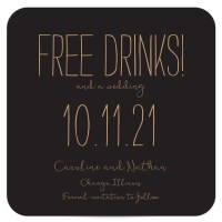 Black and Gold Coaster Save the Date - Free Drinks - Pixie