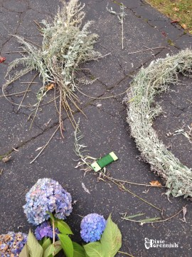 Artemisia and Hydrangea wreath in the works. - pixieperennials.com Floral wire used to bundle the Artemisia.
