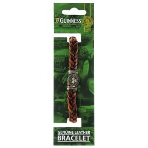 Guinness Ireland Brown Leather Shamrock Bracelet