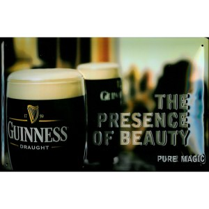 Guinness the Presence of Beauty Metal Sign