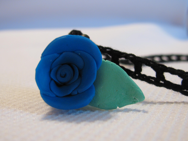Jack's Blue Rose Pendant with Julia's Railroad Crochet Choker