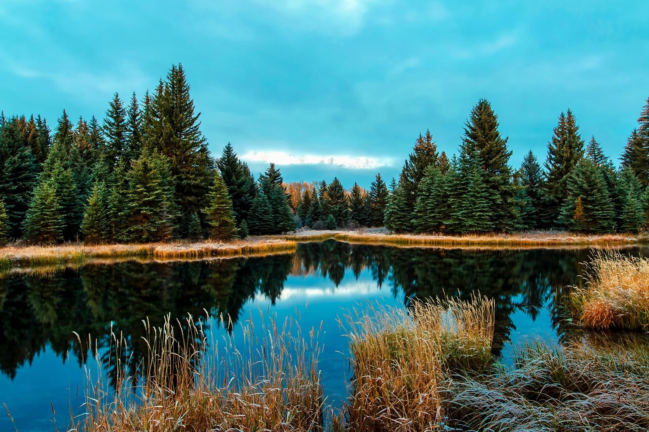Free Hd Wallpaper Fall Free Picture Water Wilderness Woods Blue Sky Conifer