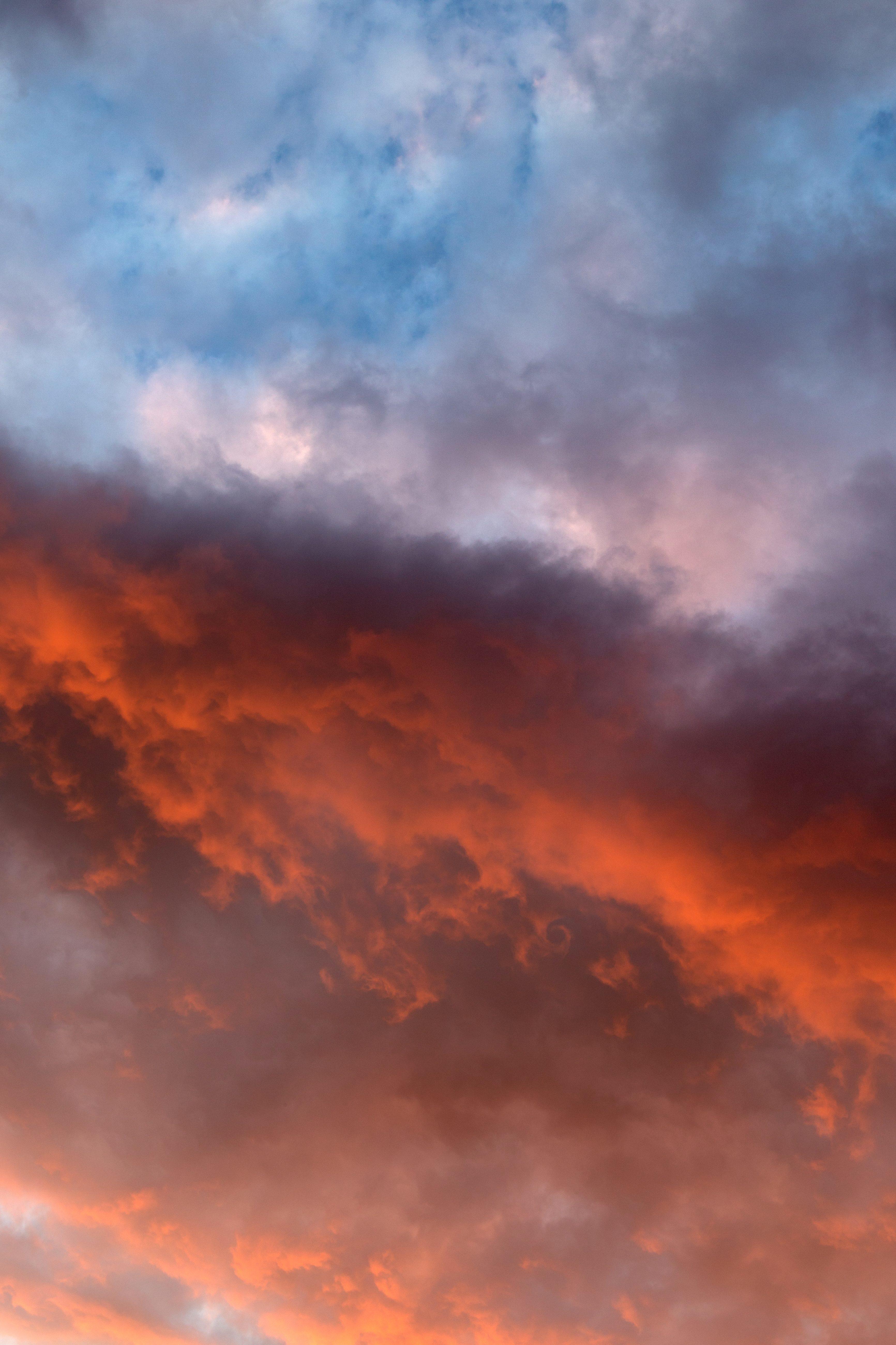 Free picture orange sky nature sky clouds sunset