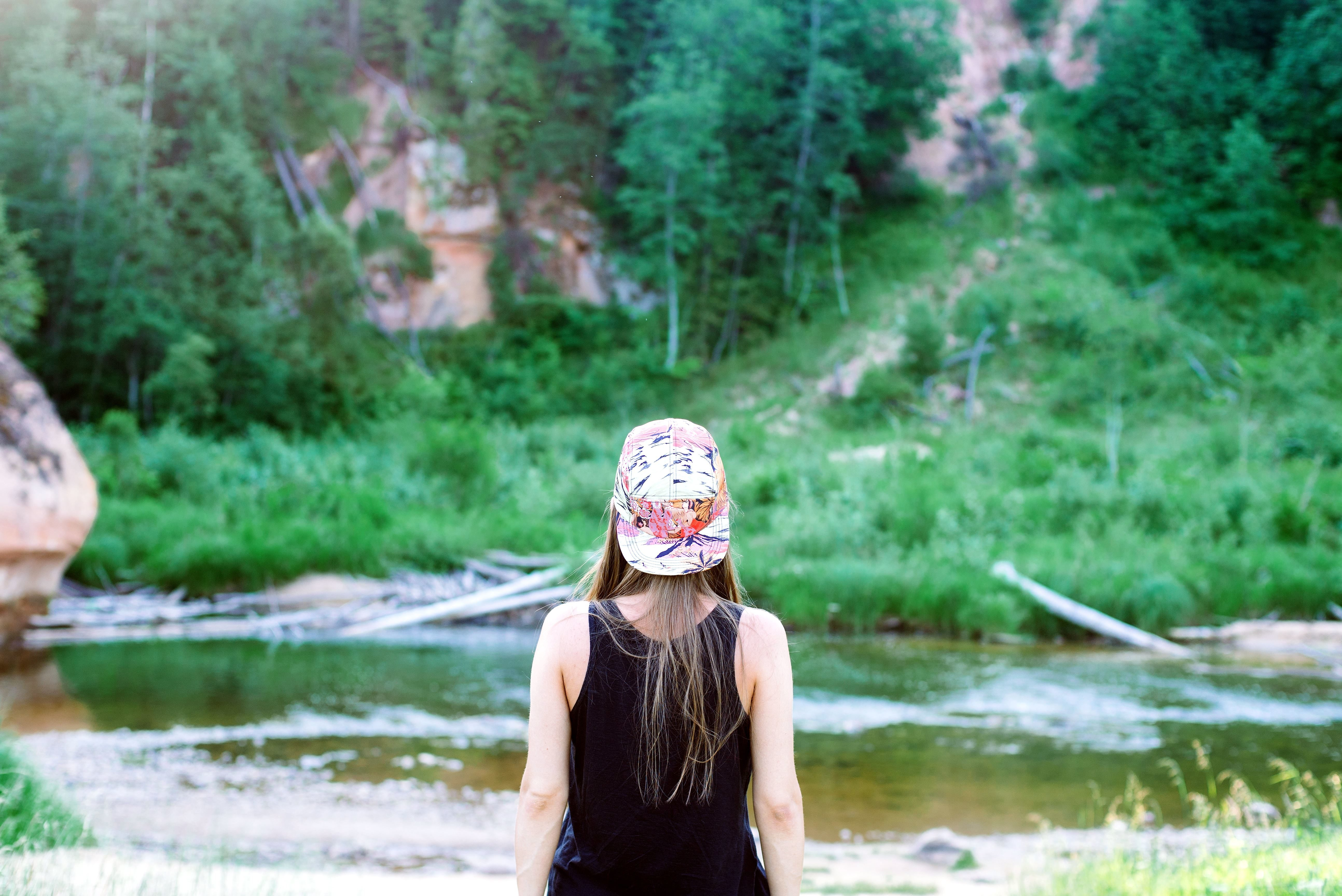 low back chair stack chairs cheap free picture: teenage girl, back, nature, river, hat