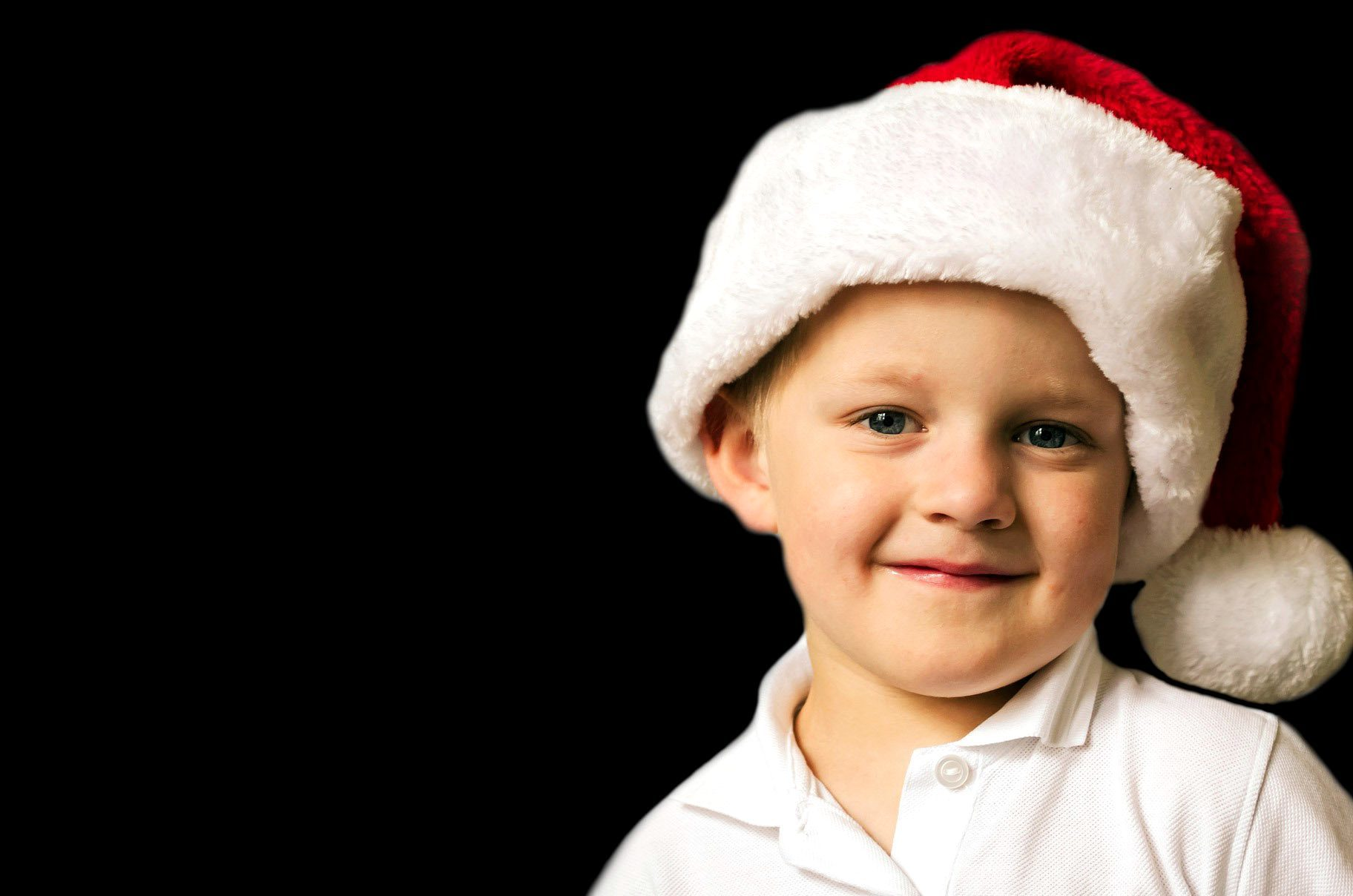 Free picture young child Christmas Santa Claus hat
