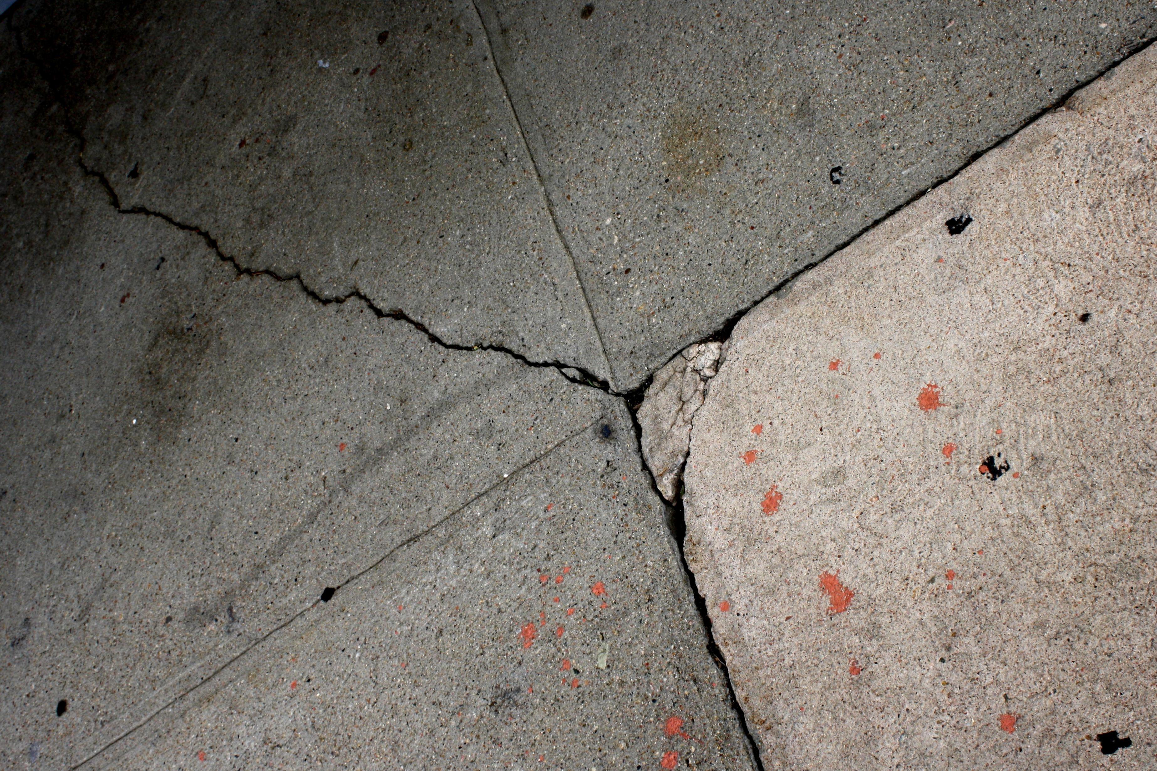 Free Picture Cement Sidewalk Cracks Paint Splatters