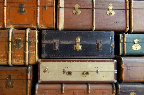 Free Suitcases Stack Leather Retro Travel