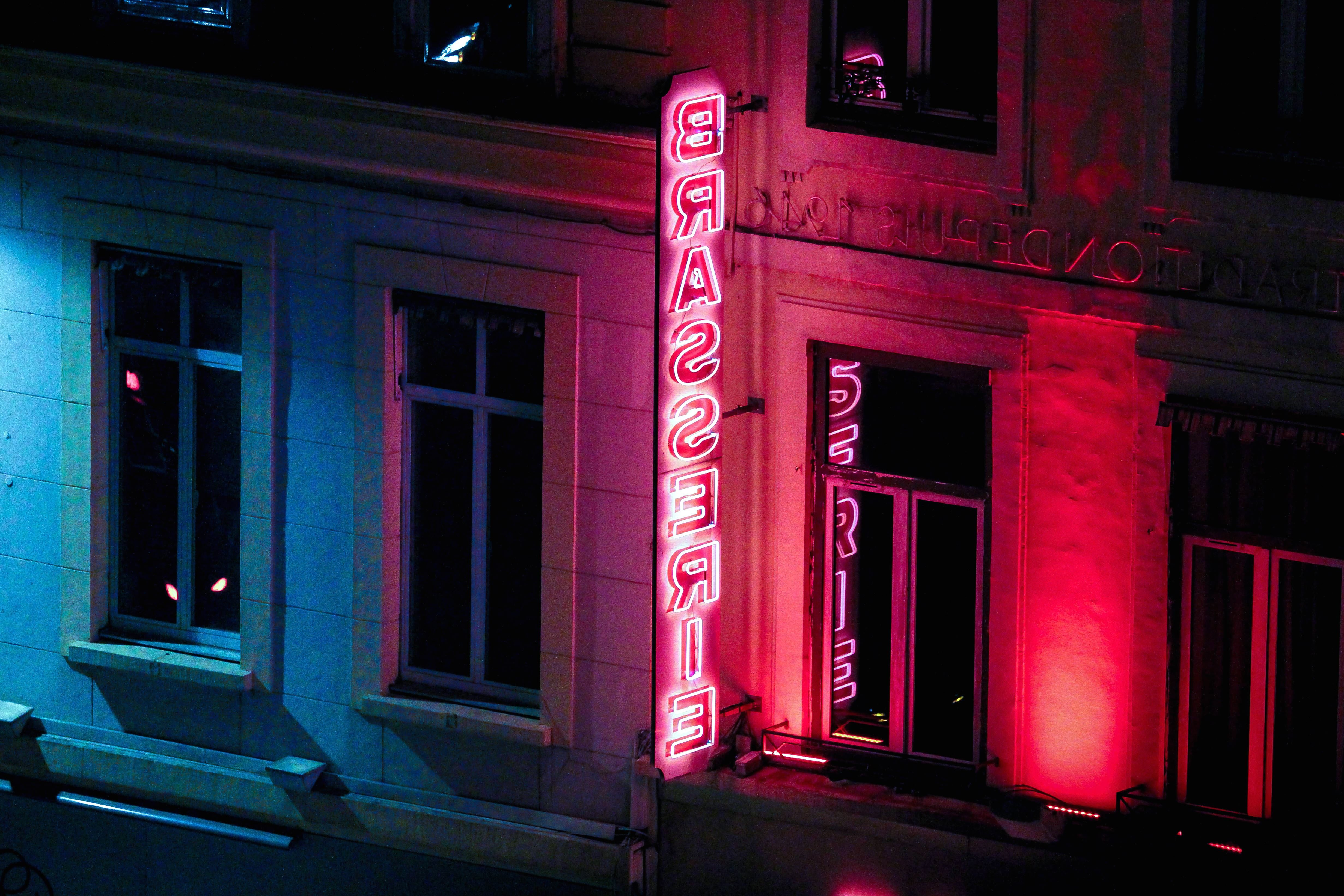 Free Picture Neon Loghts Sign Urban Street Windows
