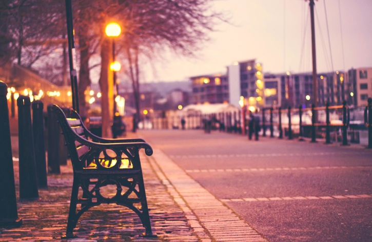 Free Picture Bench Light Urban Street City Dawn Morning