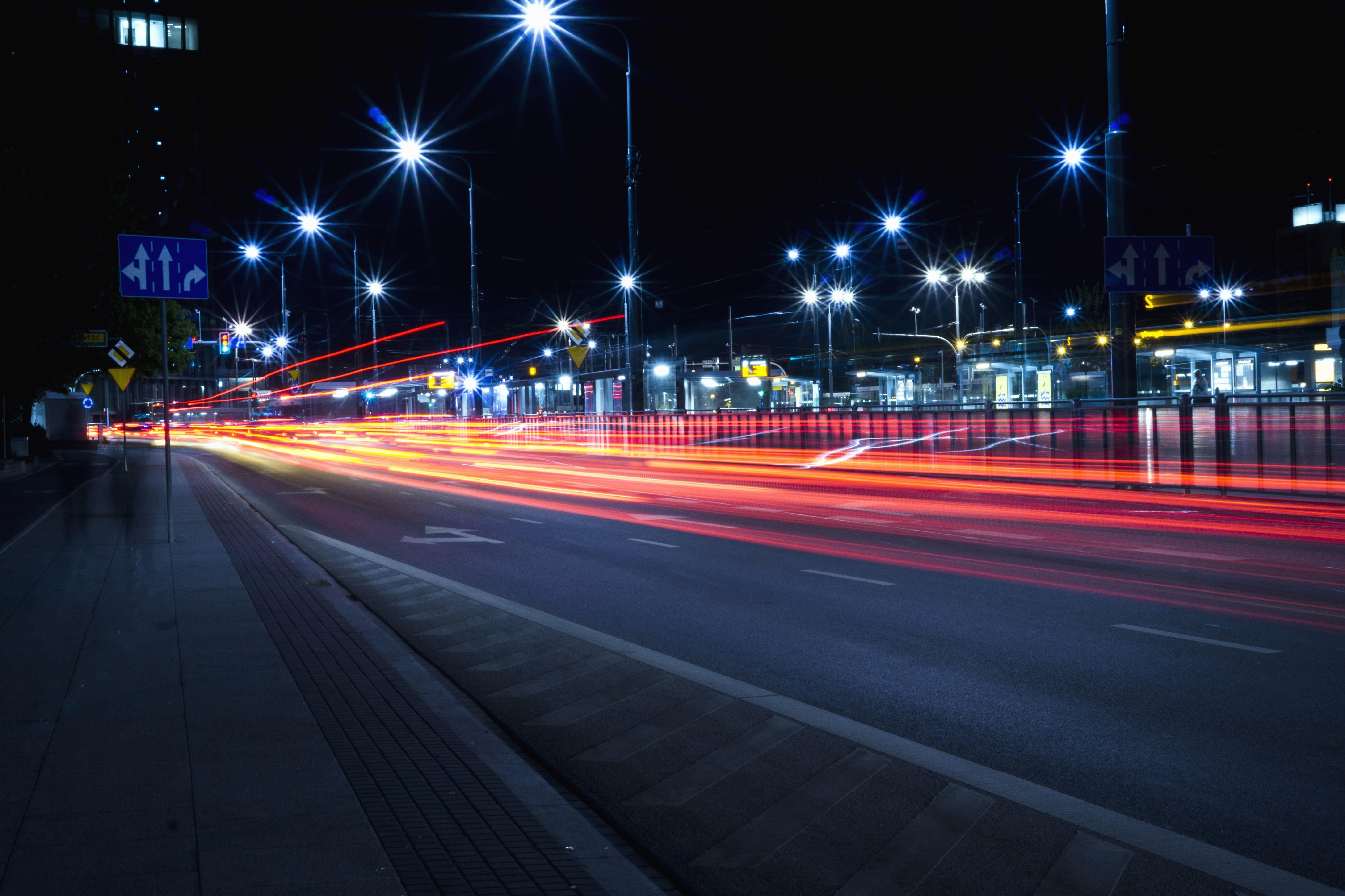 Free picture street light asphalt speed lines