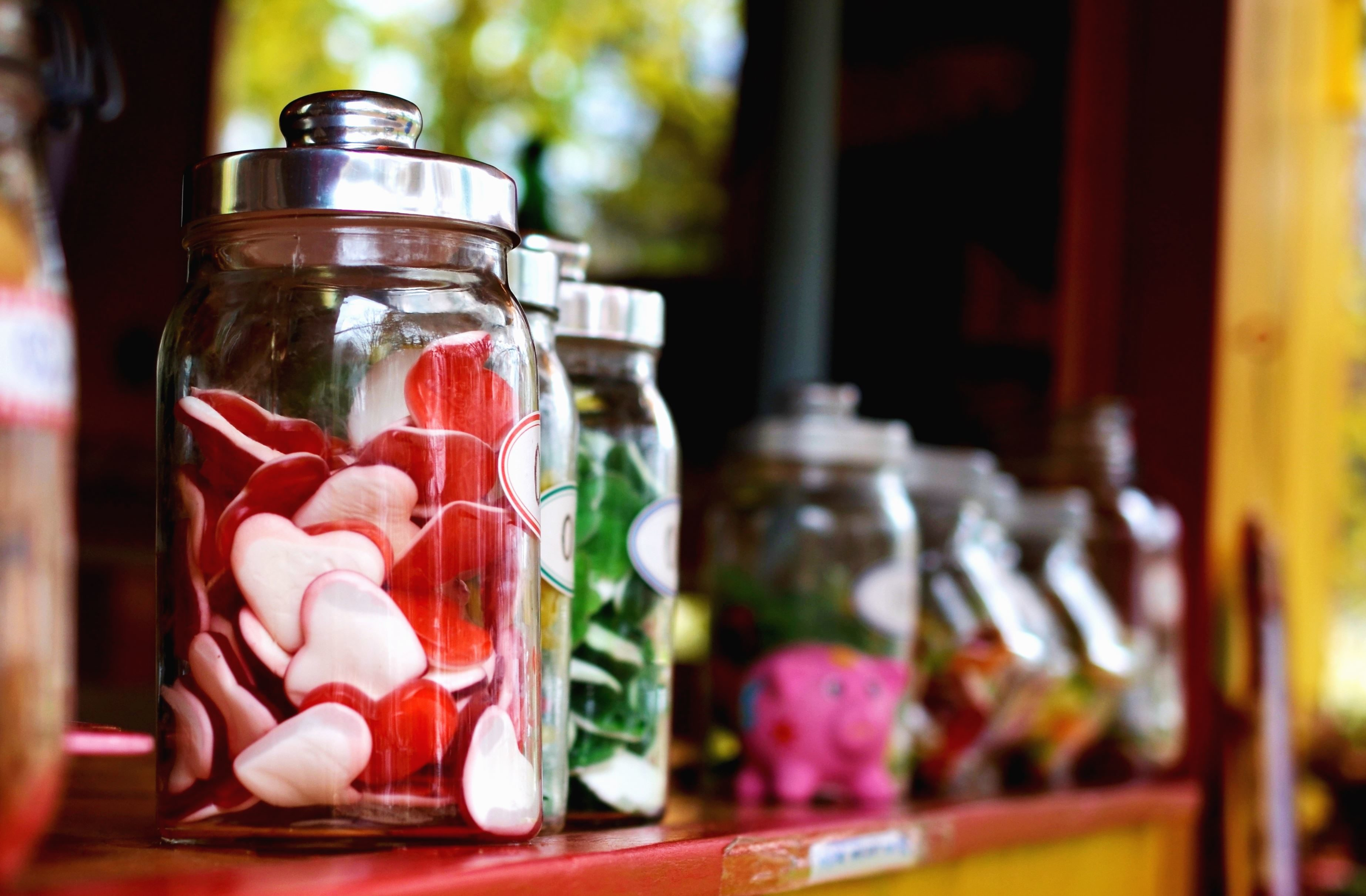 Free picture jar candy glass shelf heart