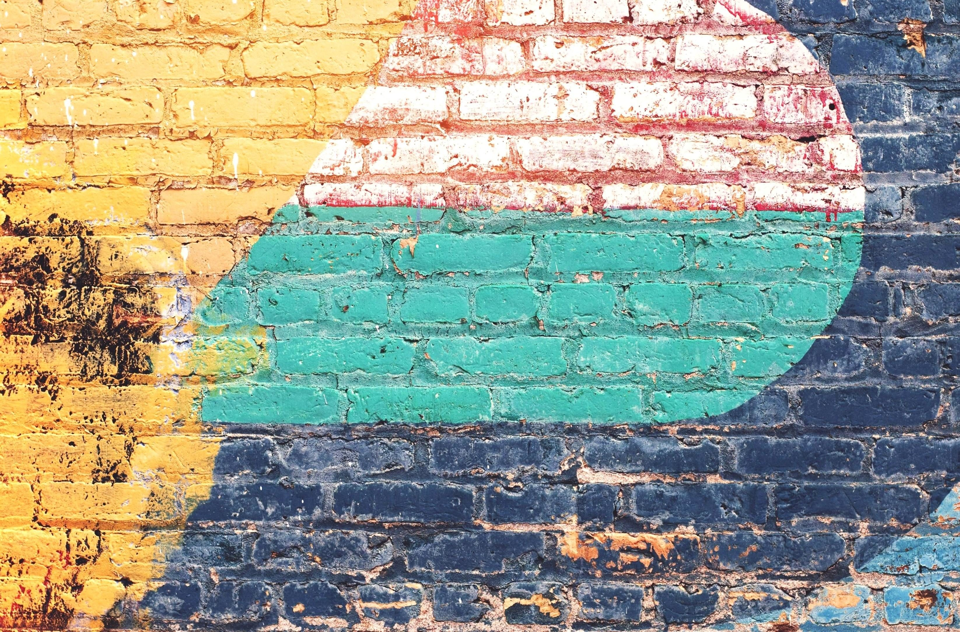 Free picture yellow green blue brick wall grunge