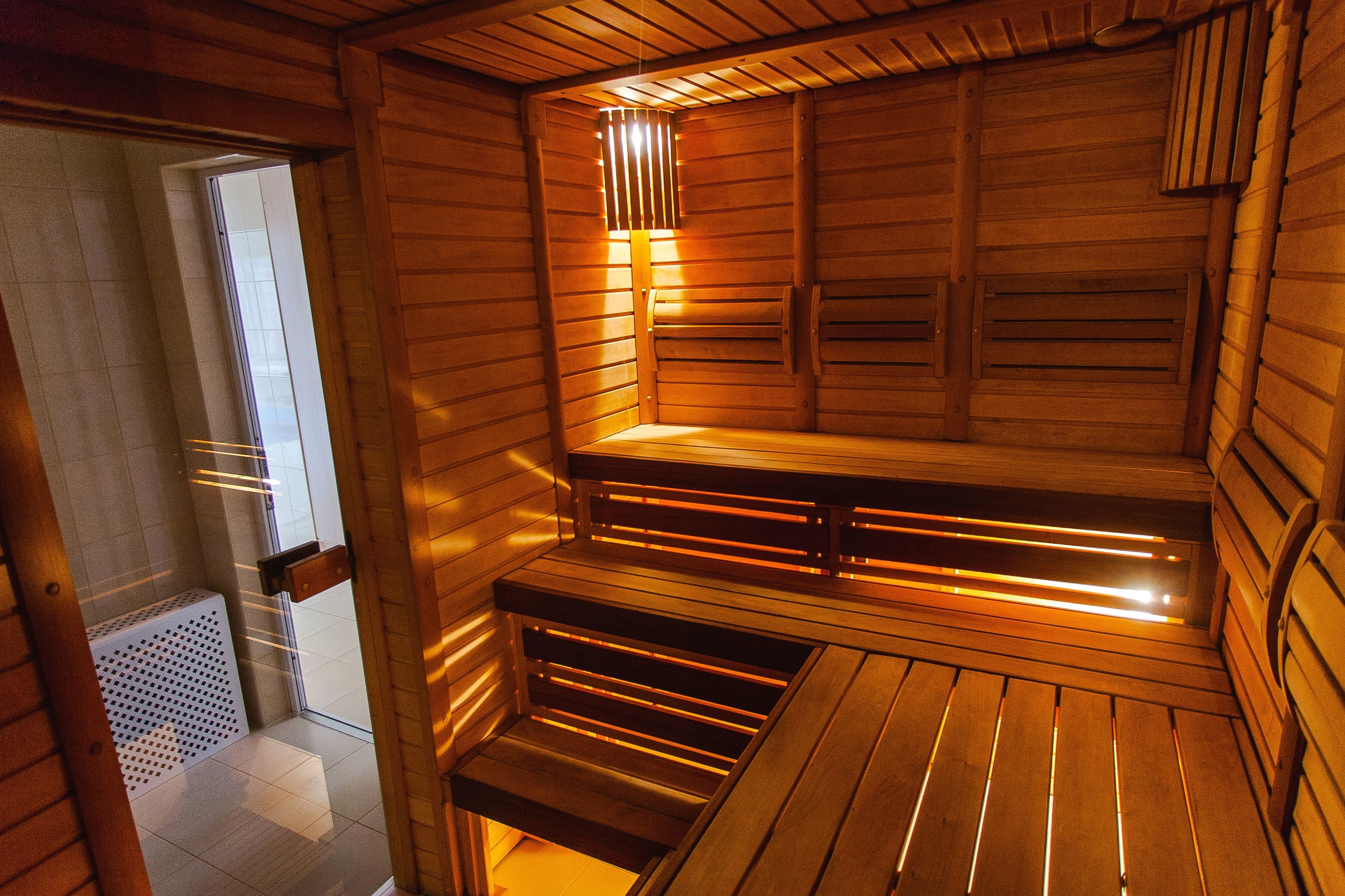 Free Picture Sauna Room Wood Plank Light Bench