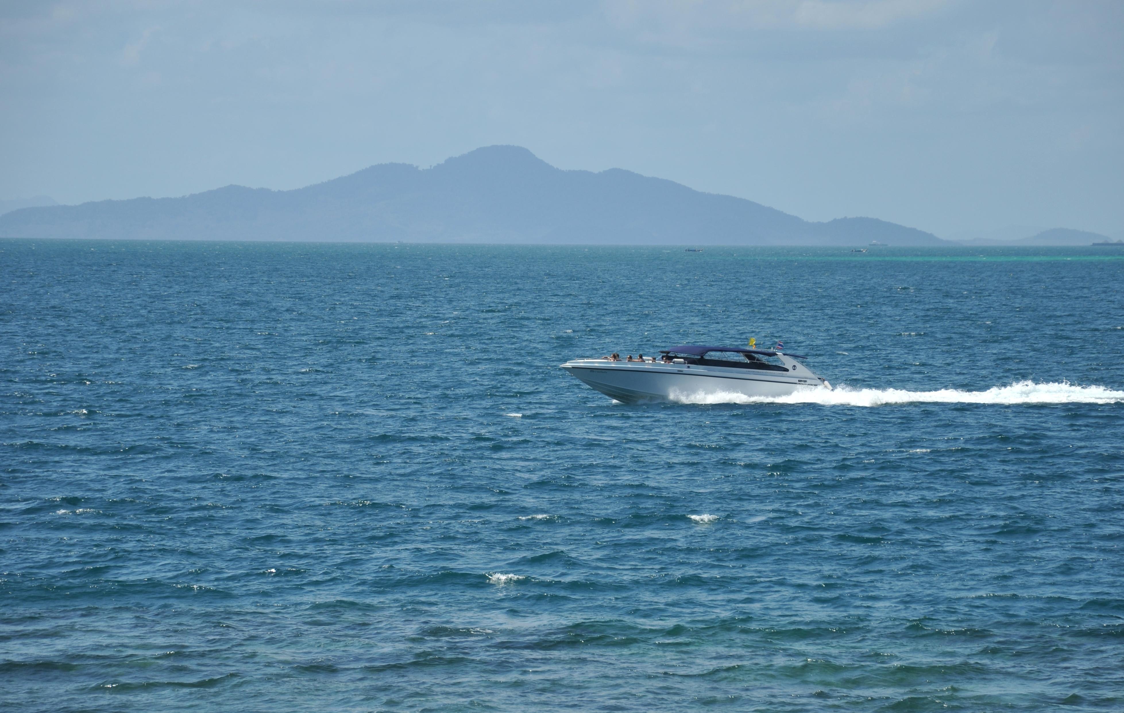 Free picture speedboat sea boat motorboat blue