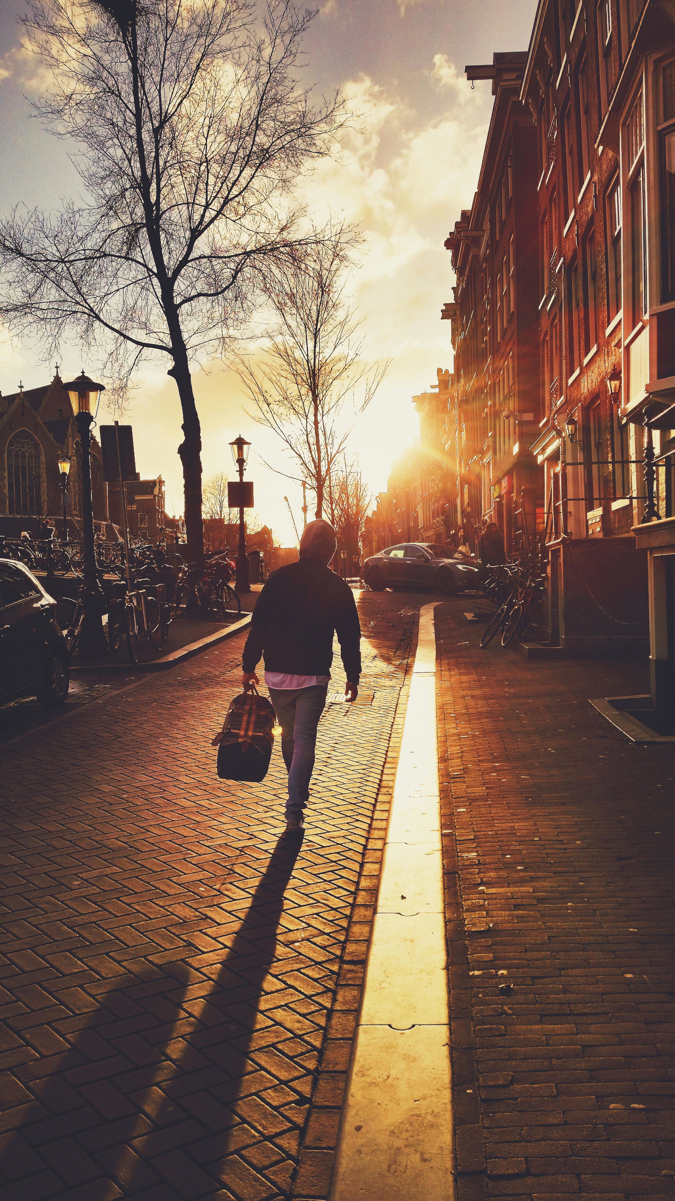 Fall Wallpaper Images Free Free Picture Street People City Sidewalk Walk Sunset