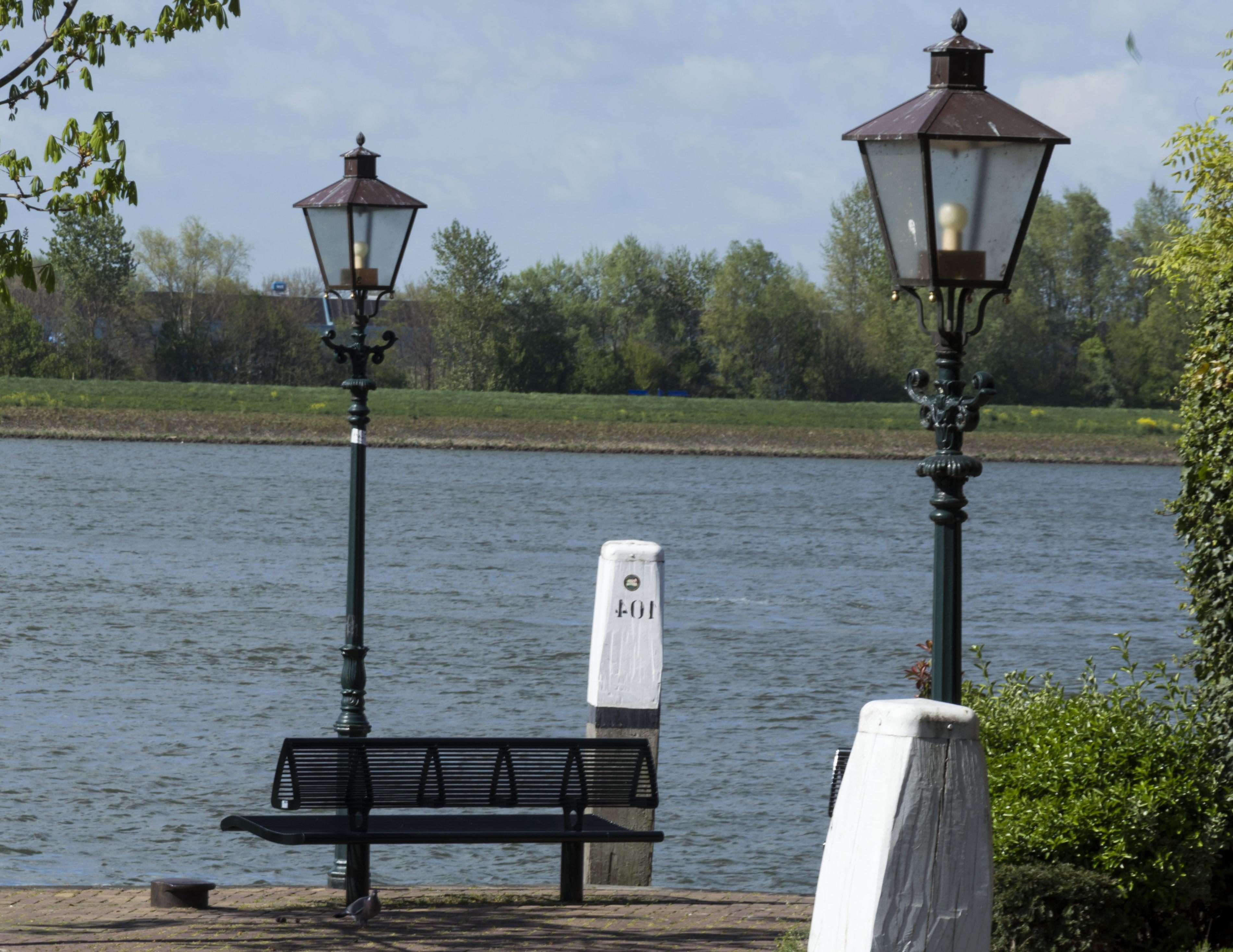 Free picture street lamp park bench lantern water