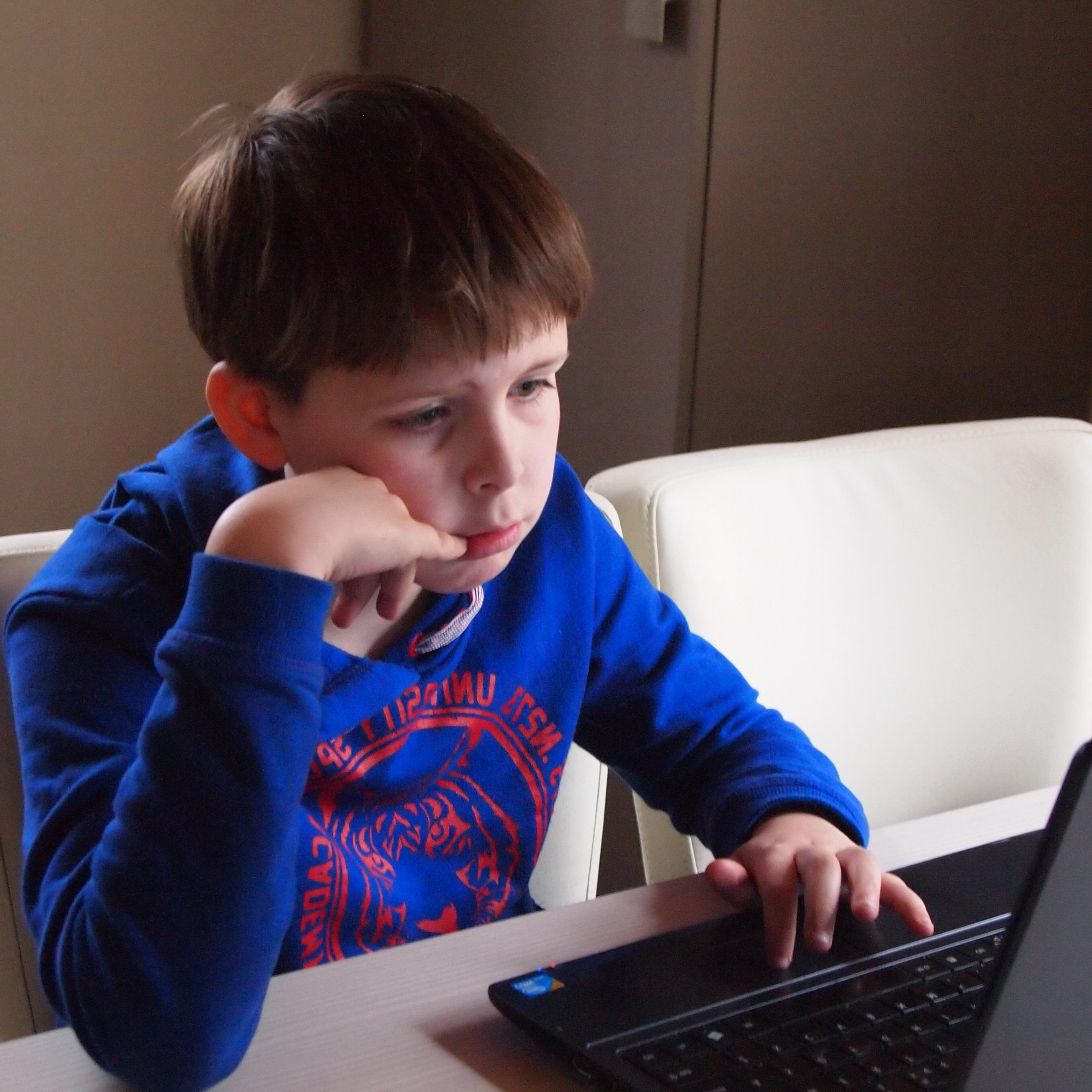 Free picture child boy internet laptop computer technology room sit