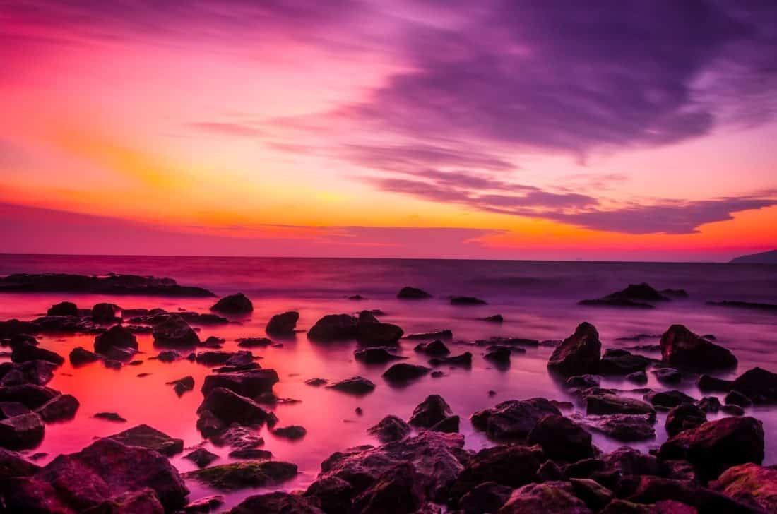 Free picture sunrise colorful twilight dawn water