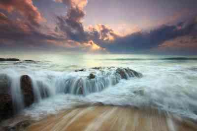 Free picture: water, seascape, sunset, sunset, waterfall ...