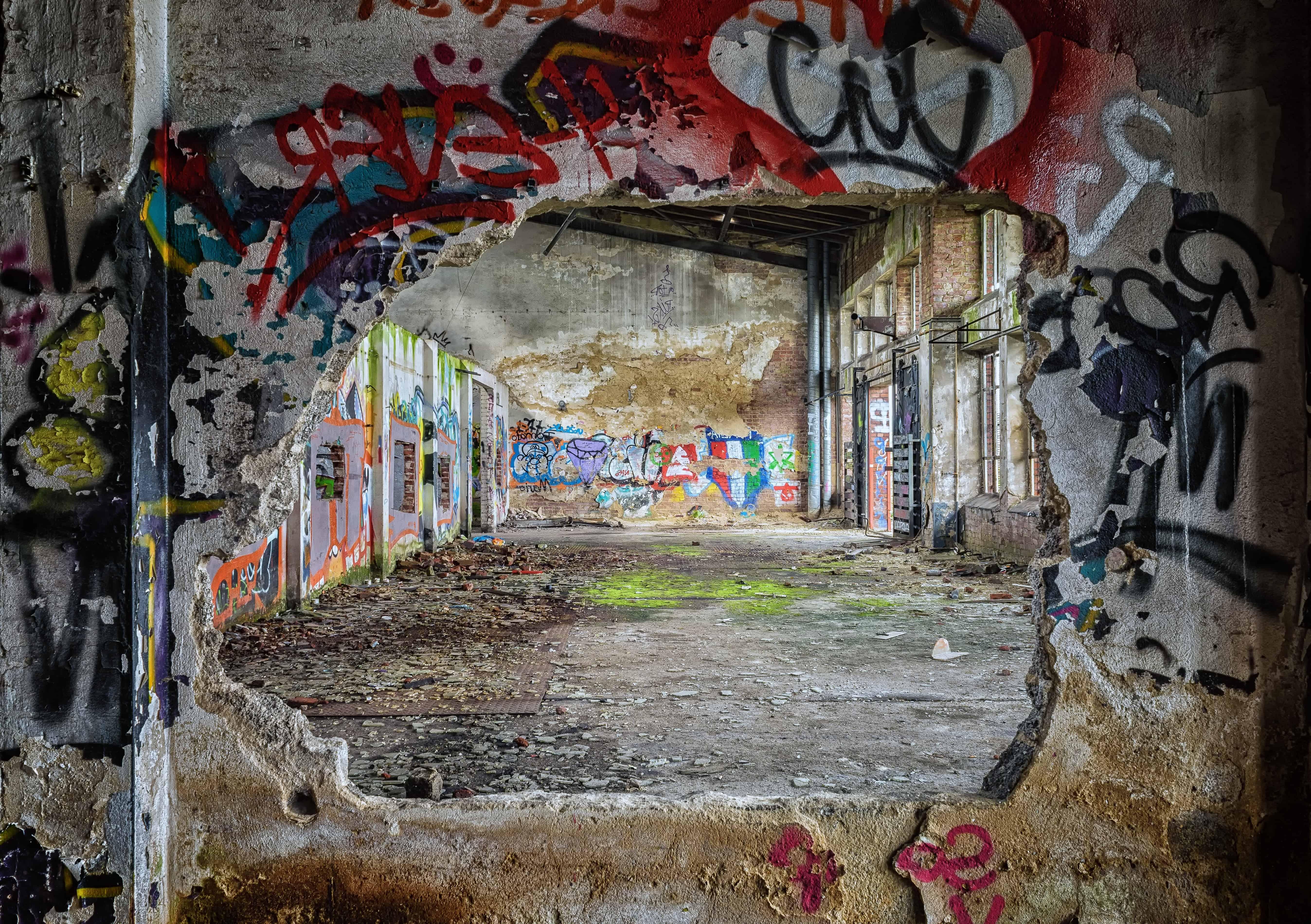 Free picture urban graffiti vandalism wall warehouse