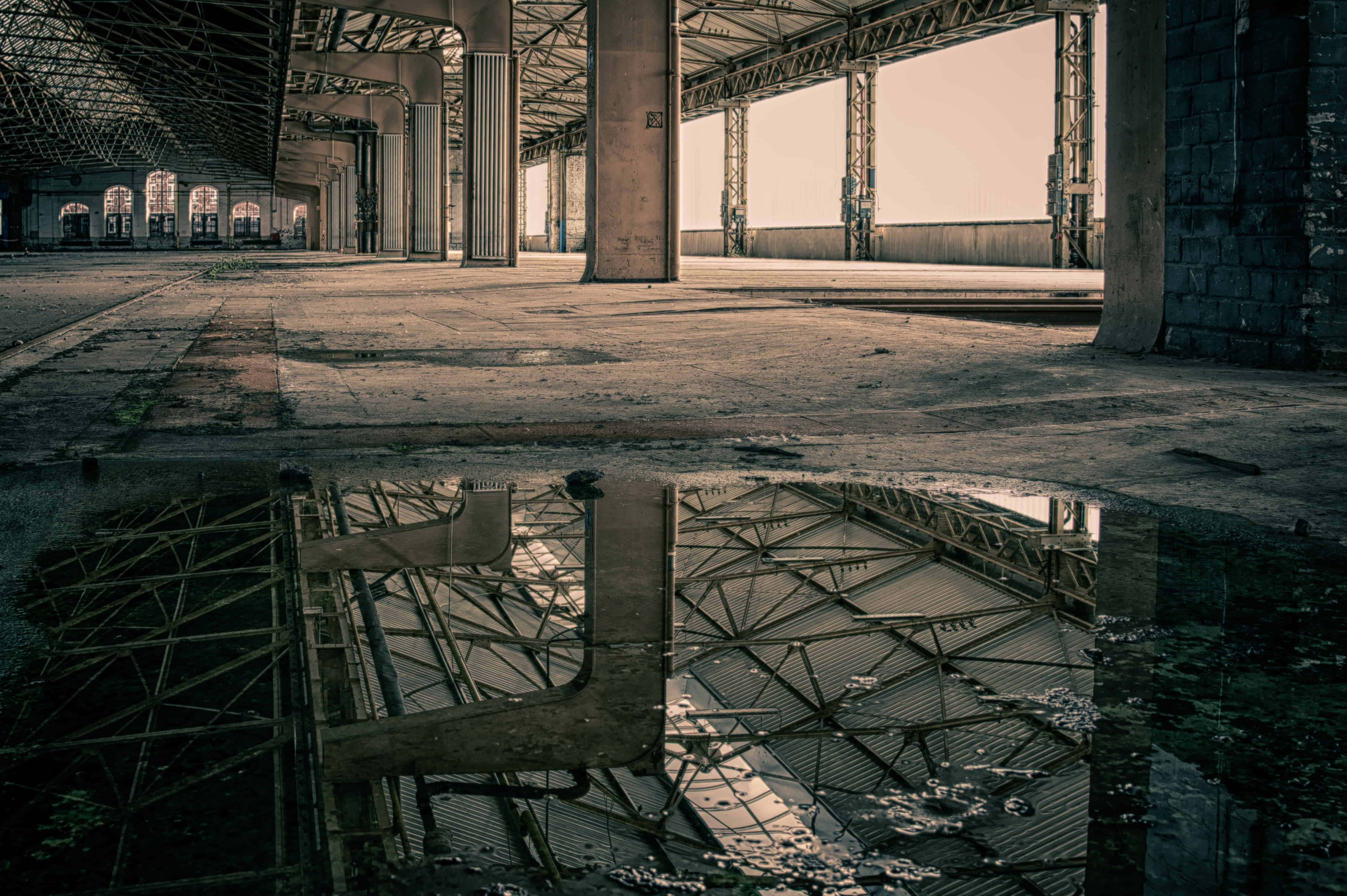 Free picture abandoned architecture water reflection
