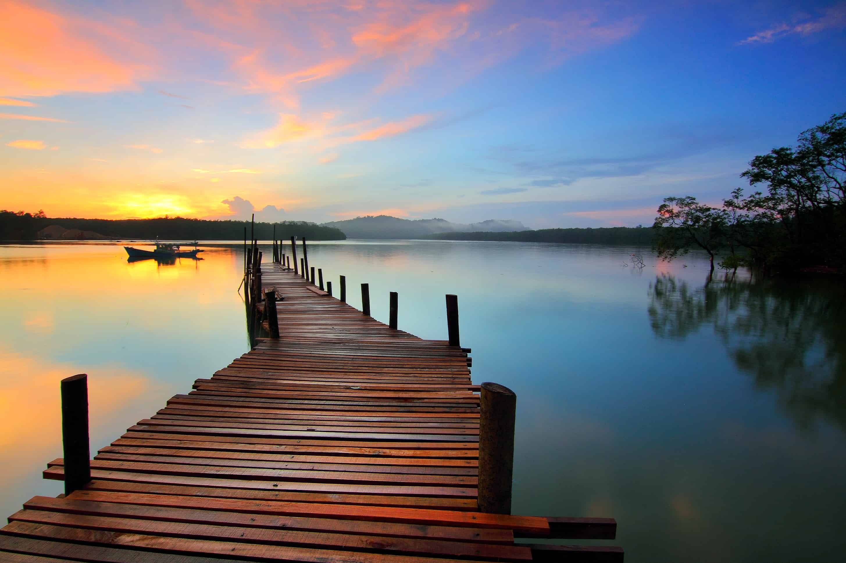 Free picture sunrise pier water dawn dusk reflection