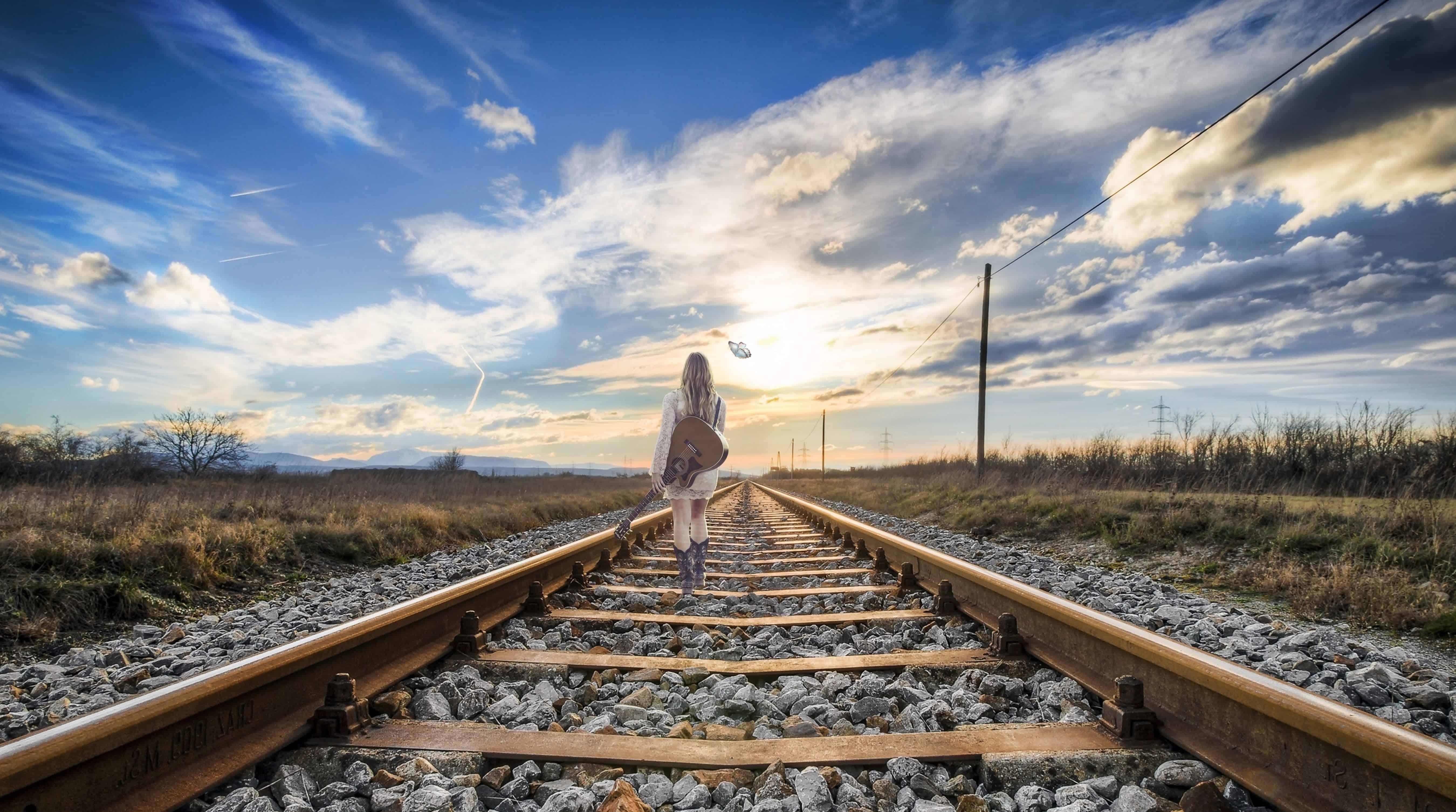 Free picture road sky railway train girl railroad