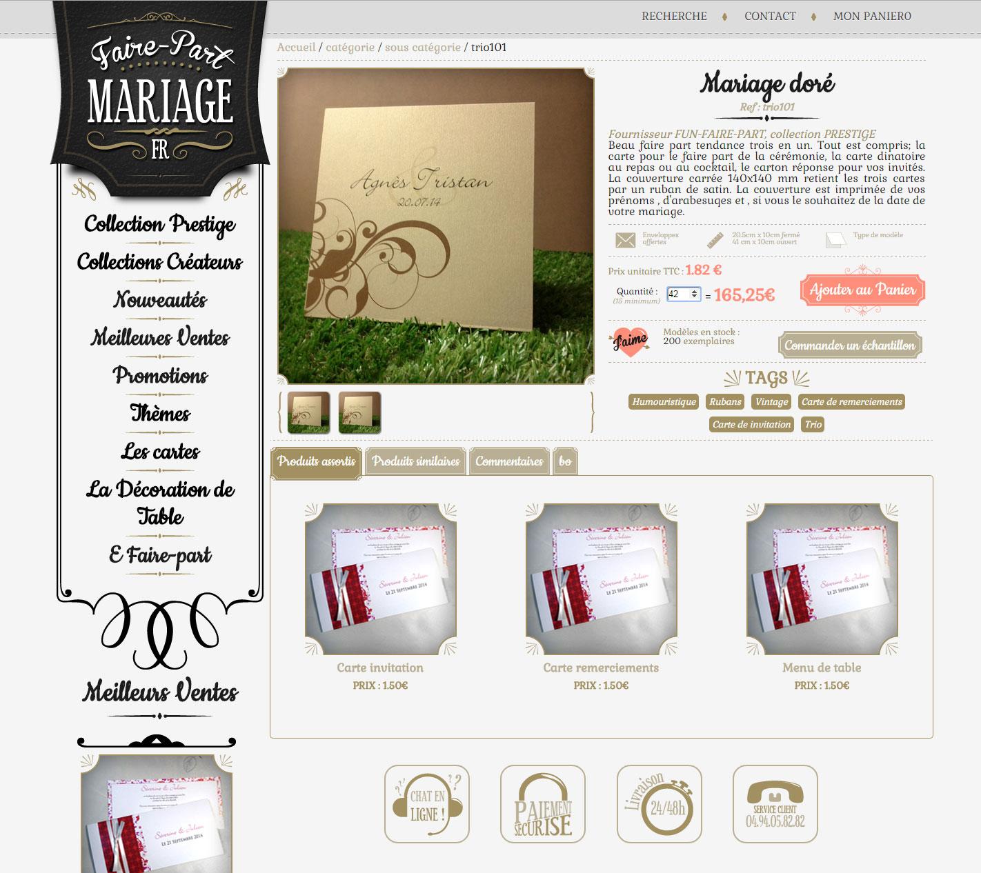 Site boutique faire-part-mariage.fr page produit