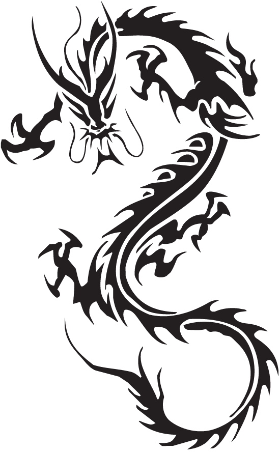 Dragon Clipart Black And White : dragon, clipart, black, white, Beautiful, Black, White, Dragon, Tattoo, Clipart, Image