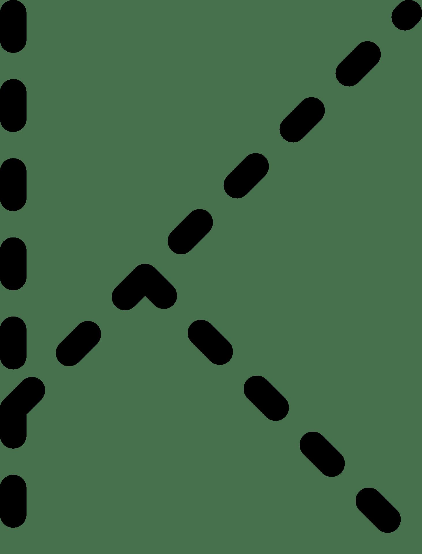 Dashed line of alphabet letter K free image