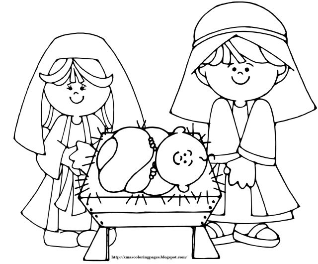 Nativity, parents with Baby Jesus, Coloring Page free image download