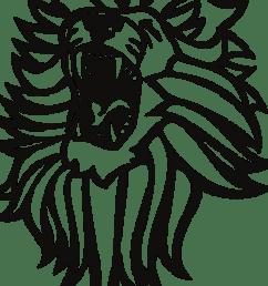 roaring lion clip art black and white [ 1024 x 1024 Pixel ]