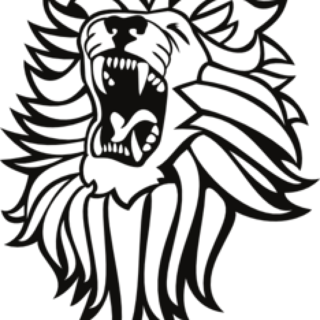 hight resolution of roaring lion clip art black and white
