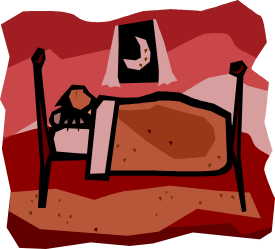 Bed in bedroom clipart free image