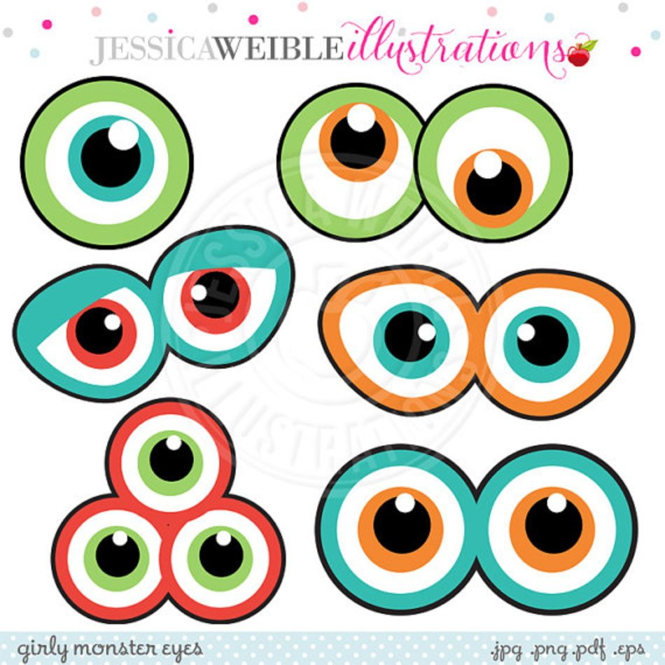 medium resolution of monster eyes cute printable birthday party favors clipart