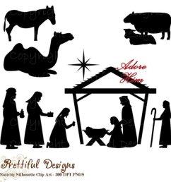 christmas nativity scene silhouette clip art [ 950 x 950 Pixel ]