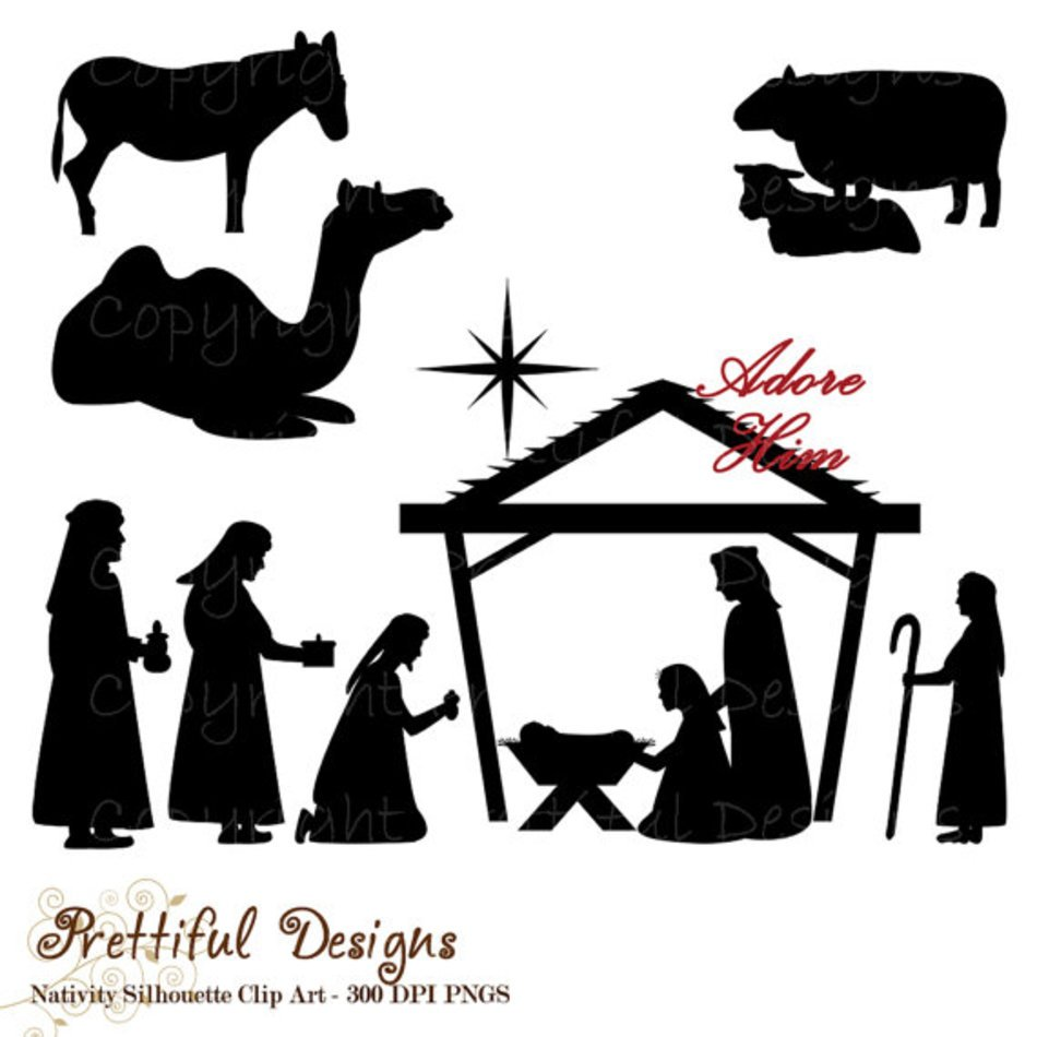 hight resolution of christmas nativity scene silhouette clip art
