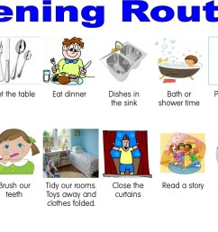 Clipart of activities in the evening routine free image [ 1061 x 1600 Pixel ]