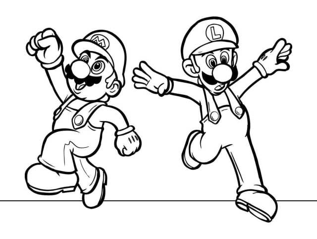 Coloring page with Super Mario characters free image download