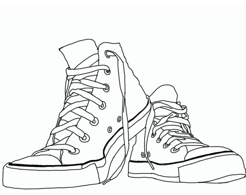 Black and white drawing of the Converse shoes clipart free