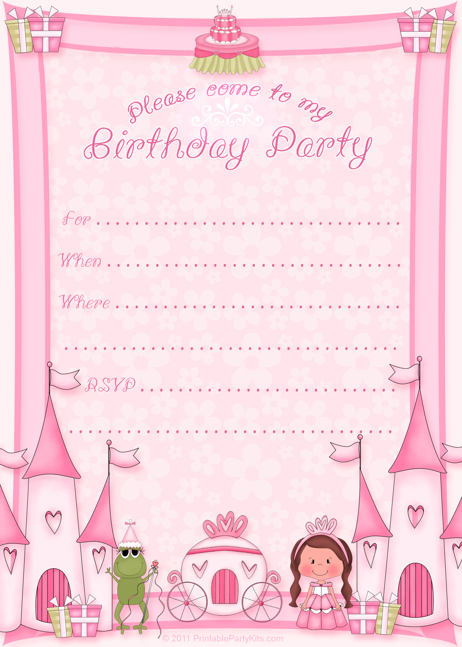 birthday party invitation with the colorful decorations clipart free image